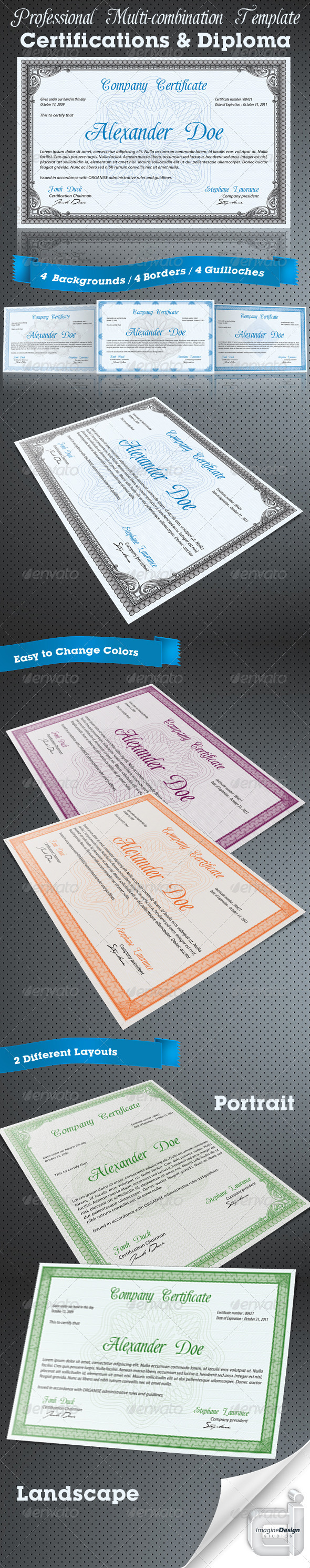 Professional certificate or diploma templates by bagera graphicriver professional certificate or diploma templates certificates stationery xflitez Choice Image