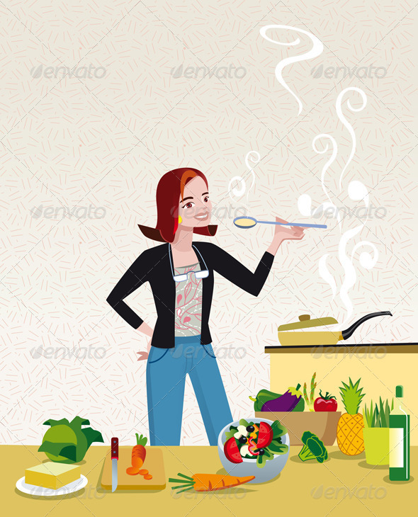 Woman Cooking - Food Objects