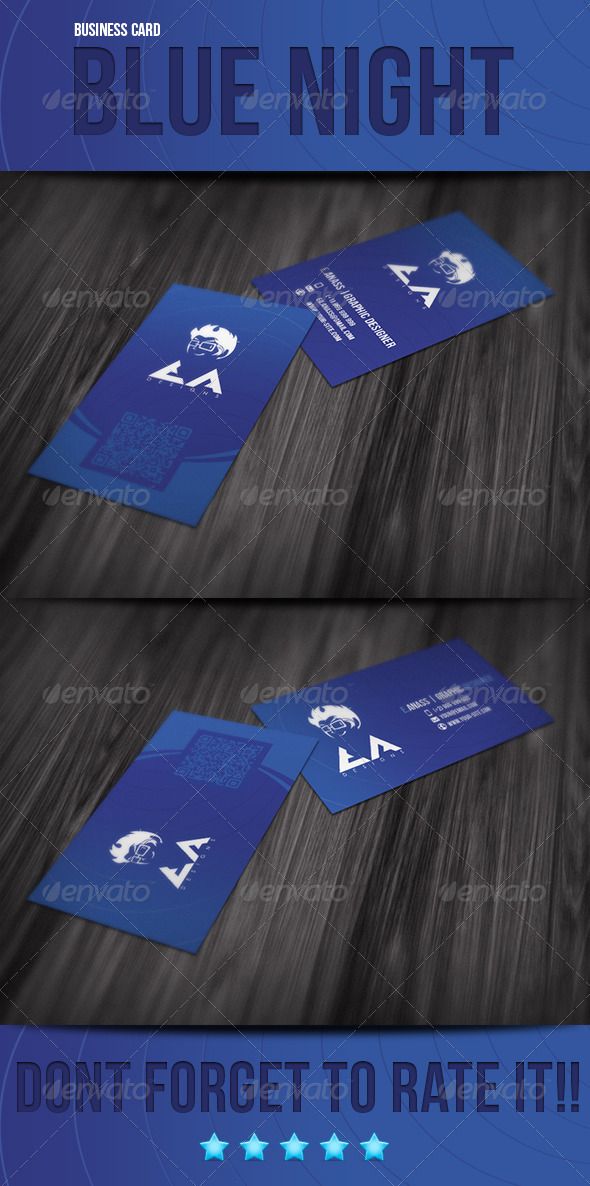 Blue Night Business Card - Creative Business Cards