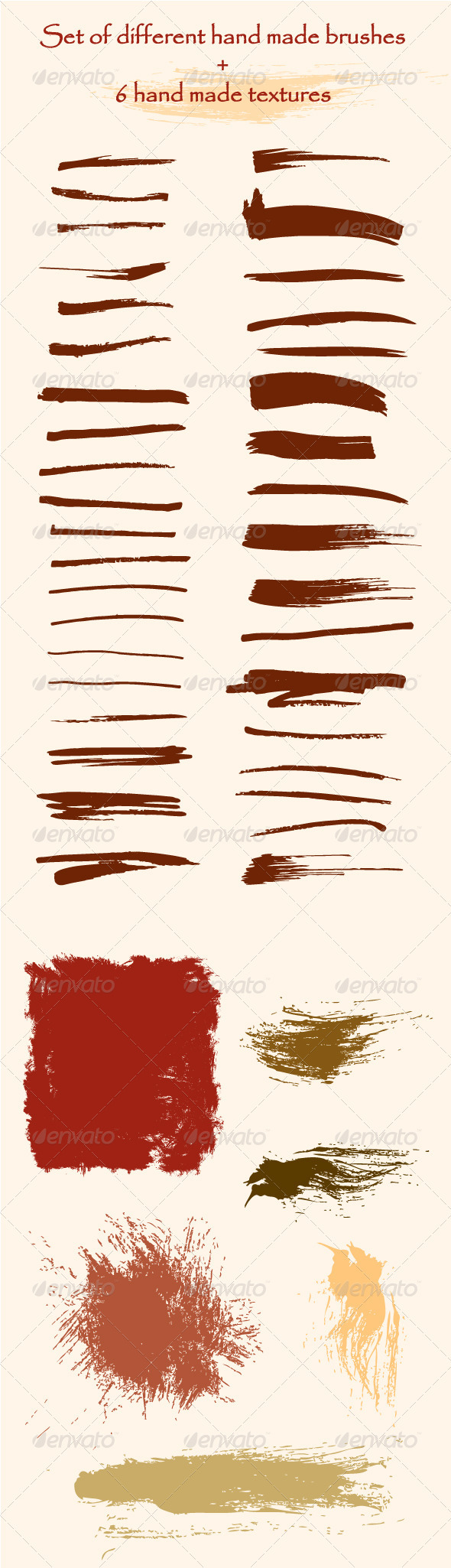 Set of Hand Made Brushes and Textures - Decorative Symbols Decorative