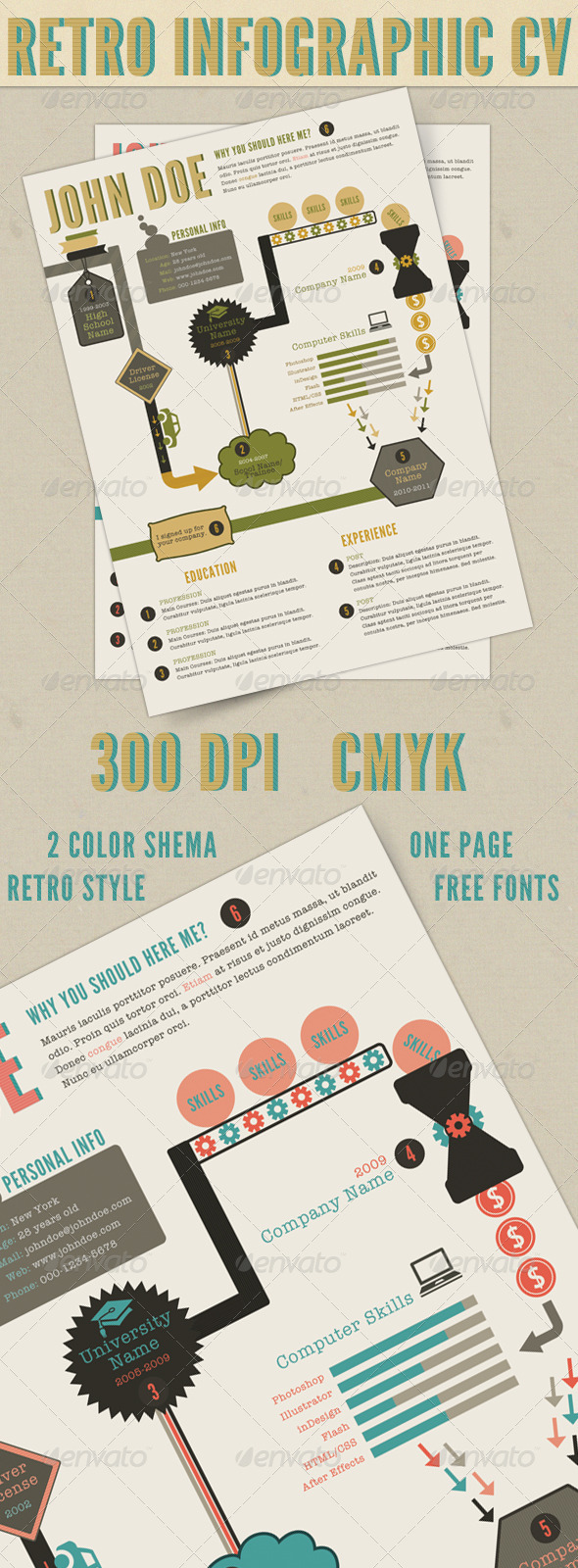 Retro Infographics Resume - Resumes Stationery