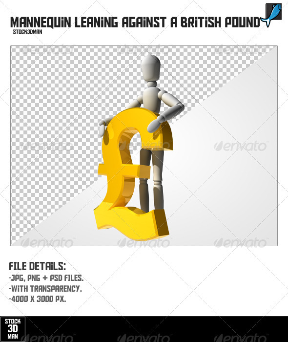 Mannequin Leaning Against a British Pound - Characters 3D Renders
