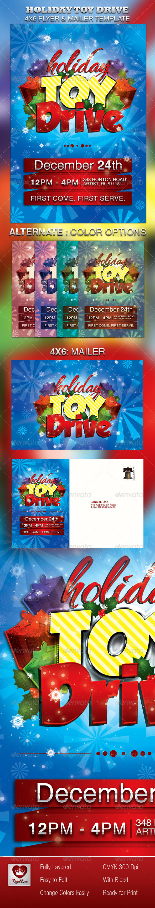 Holiday Toy Drive Flyer & Mailer - Holidays Events