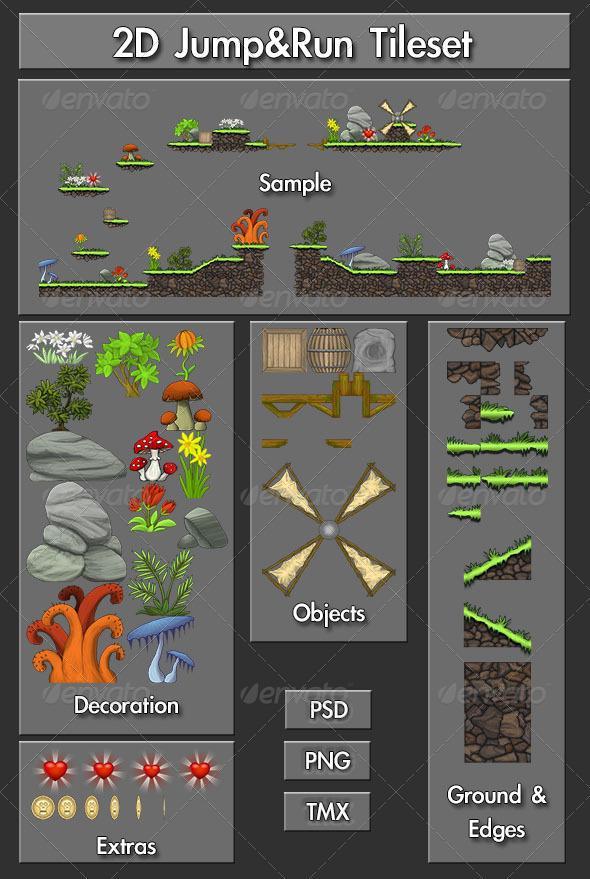 2D Jump&Run Tileset - Tilesets Game Assets