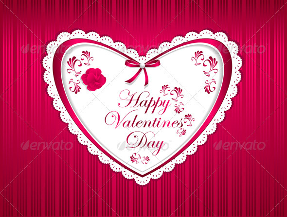 Happy Valentines Day with Flower Ribbon - Valentines Seasons/Holidays