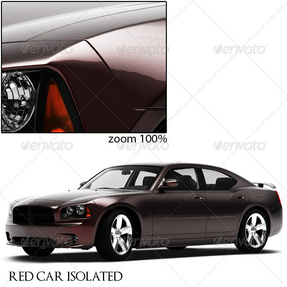 Red Car Isolated - 3D Renders Graphics