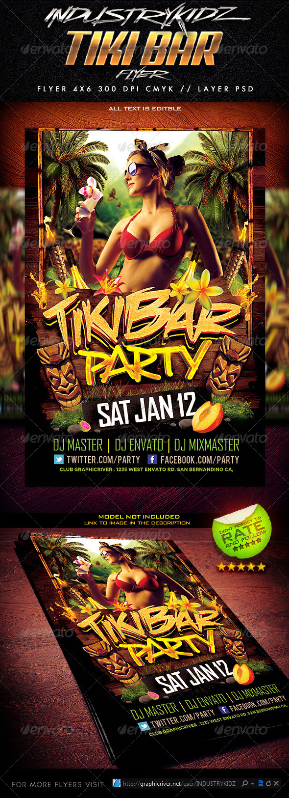 Tiki Bar Party Flyer - Clubs & Parties Events