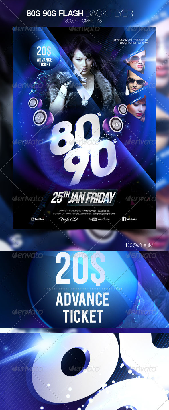80s 90s Flash Back Flyer - Clubs & Parties Events