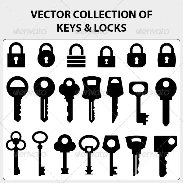 Vector Collection of Keys and Locks - Man-made Objects Objects