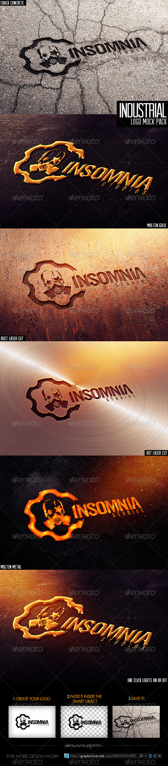 Industrial Photorealistic Logo Mock-Up - Logo Product Mock-Ups
