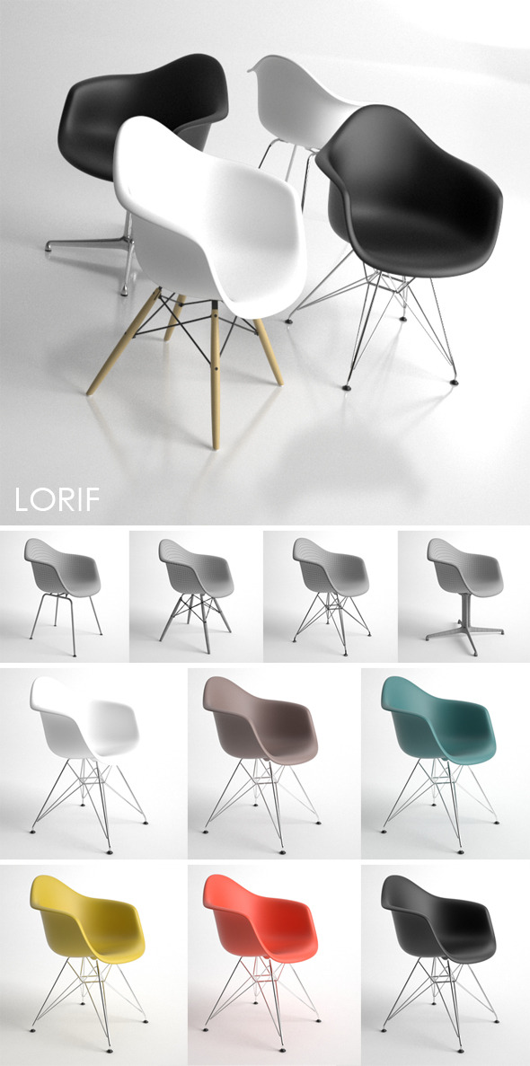 Eames Plastic Armchair 4in1, DAL, DAX, DAW, DAR, - 3DOcean Item for Sale