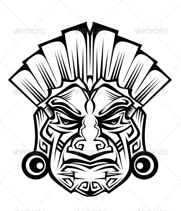 Ancient Mask - Tattoos Vectors