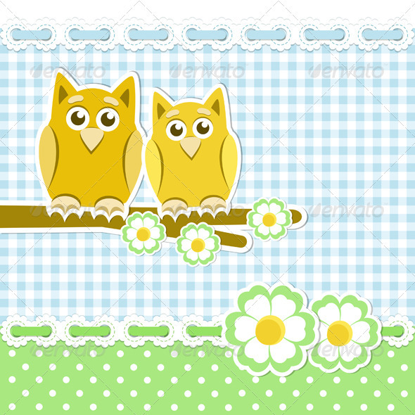 Romantic Background With Owls - Animals Characters