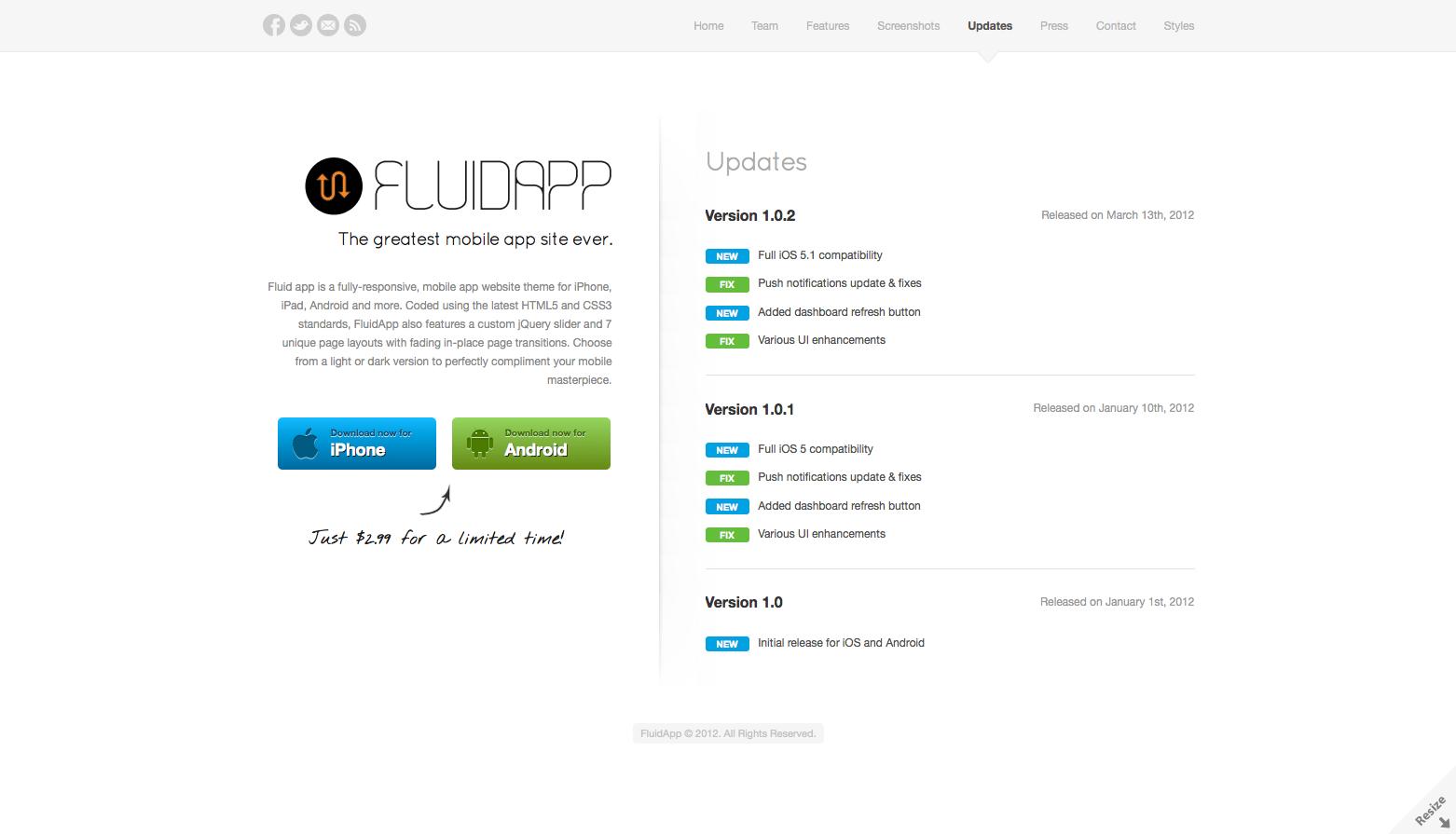 FluidApp - Responsive Mobile App WordPress Theme
