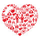 Mosaic heart card for Valentines Day - vector - GraphicRiver Item for Sale
