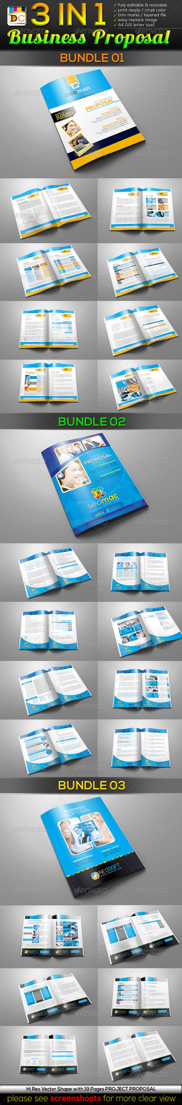 3 in 1 Business/Project Proposal Bundle - Proposals & Invoices Stationery