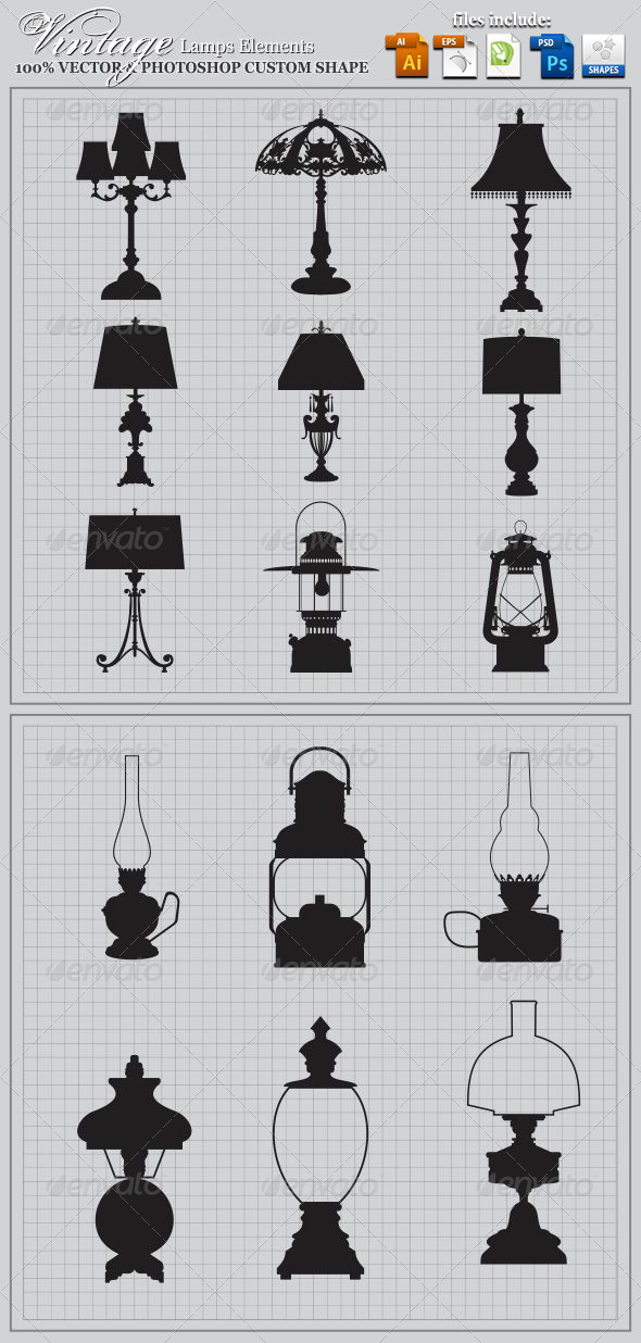 Vintage Lamps Elements - Man-made Objects Objects