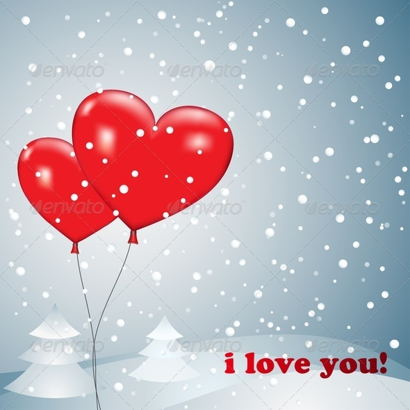 Balloons Heart With Snow - Valentines Seasons/Holidays