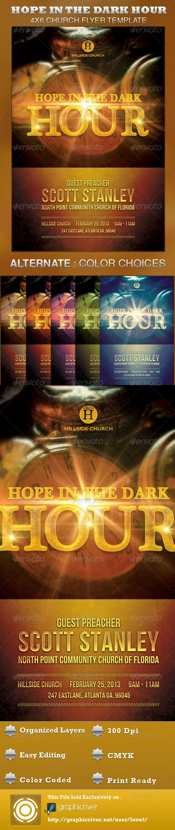 Hope in the Dark Hour Church Flyer Template - Church Flyers