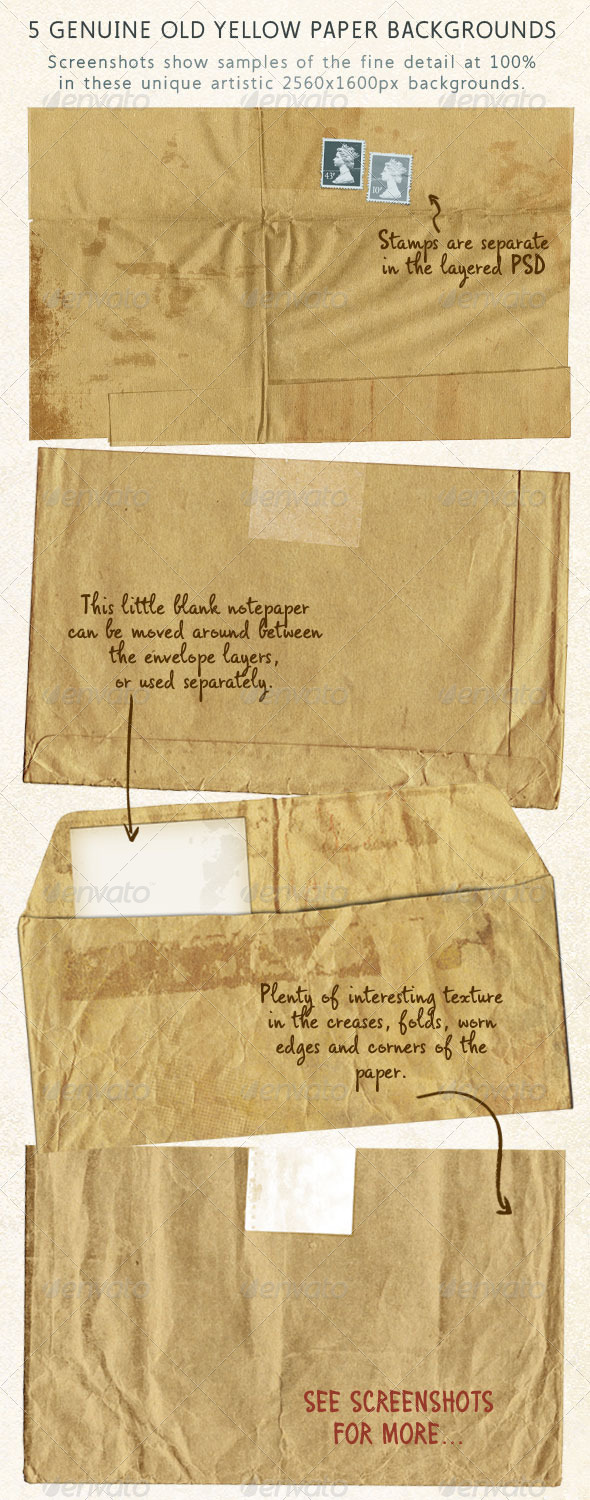 5 Old Brown Stationery Papers, Aged & Stained - Miscellaneous Backgrounds
