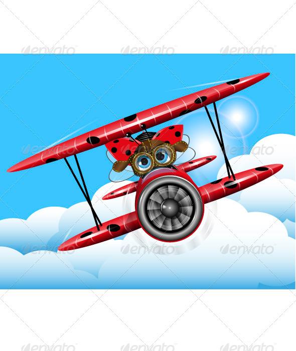 ladybug on a plane - Animals Characters