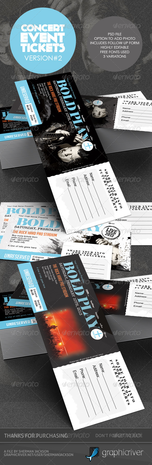 Hard Rock Cafe Graphics Designs Templates From GraphicRiver - Event ticket template photoshop