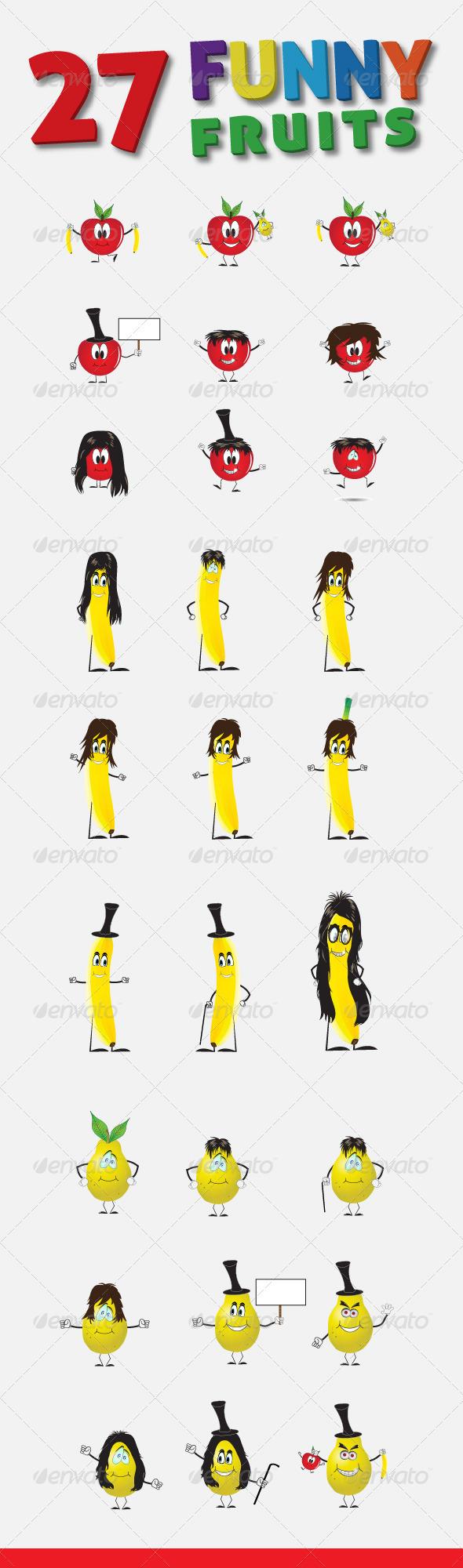 27 Funny Fruits Vector Characters - Characters Vectors