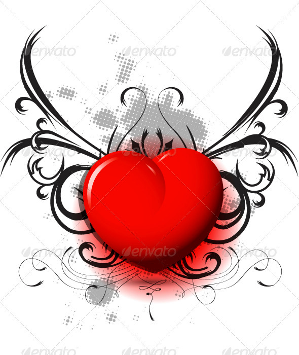 red heart on black pattern - Valentines Seasons/Holidays