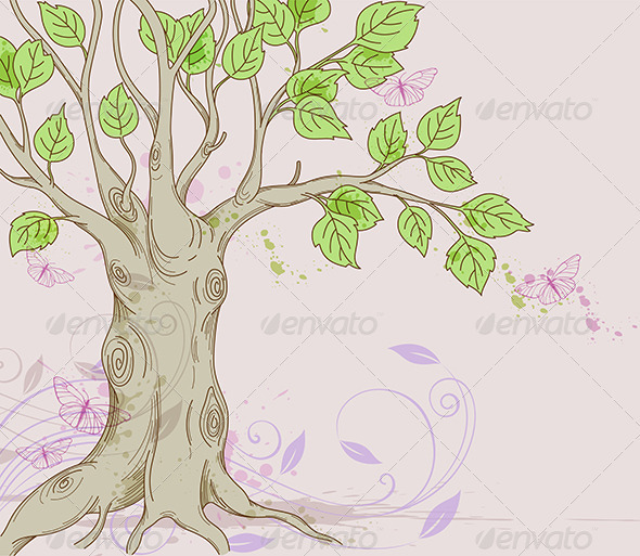 Background with Tree - Flowers & Plants Nature