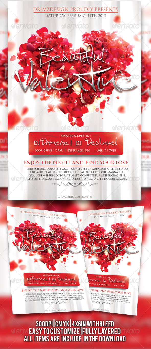 Beautiful Valentine Flyer - Events Flyers