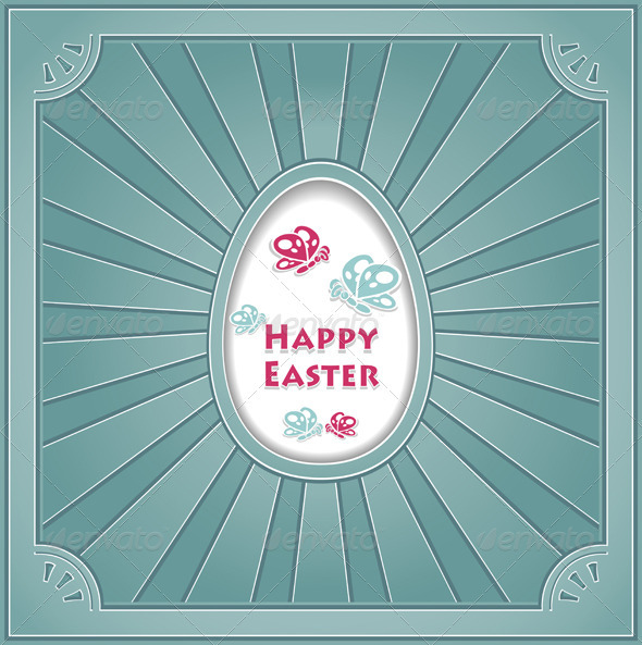 Happy Easter with egg Butterflies rays in retro st - Religion Conceptual