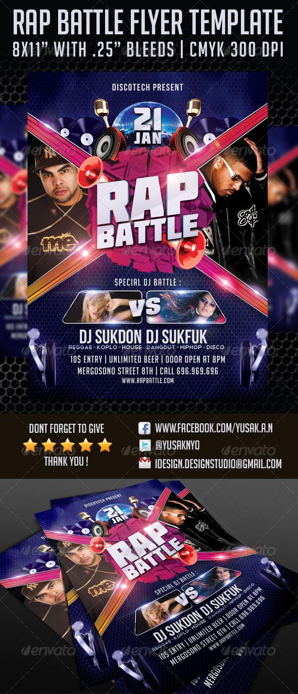 Rap Battle Flyer Template - Clubs & Parties Events