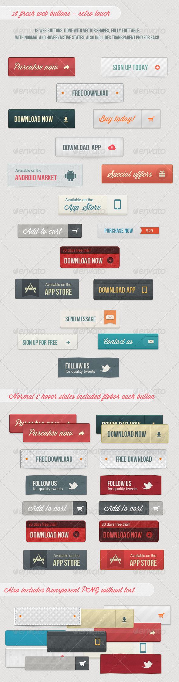 18 Fresh Web Buttons - Retro Touch - Buttons Web Elements