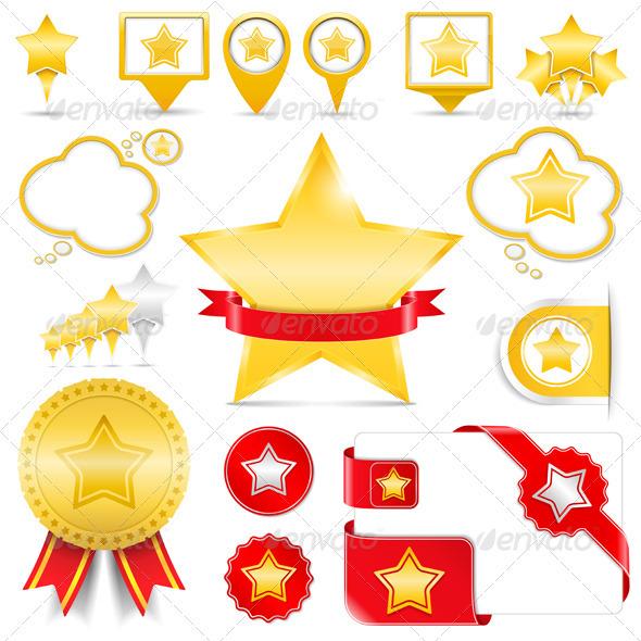 Design Elements with Stars - Web Elements Vectors