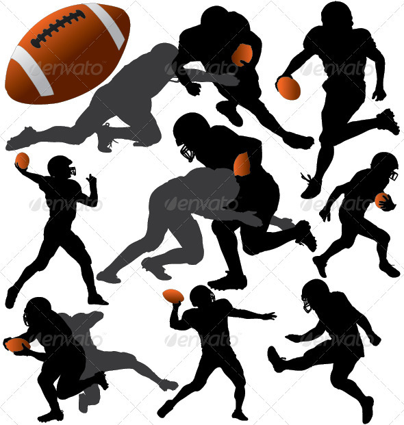 American Football Vector Silhouettes - Sports/Activity Conceptual