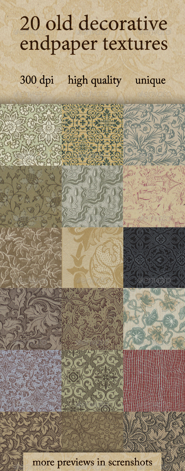 20 Old Decorative Endpaper Textures - Paper Textures