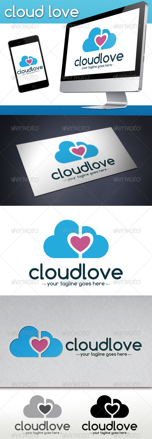 Cloud Love Logo Template - Objects Logo Templates