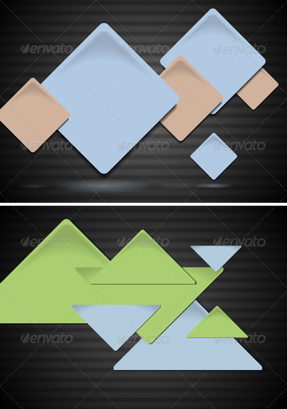 Squares and triangles on the dark background - Backgrounds Decorative