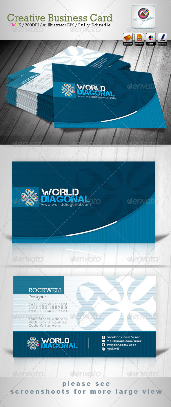 World Diagonal Business Card - Creative Business Cards