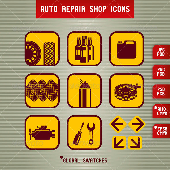 Auto Repair Shop Icons - Commercial / Shopping Conceptual