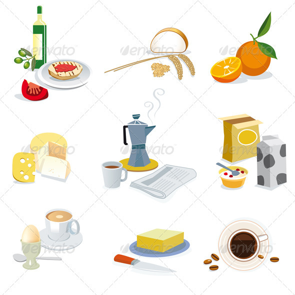 Breakfast Ingredients - Characters Vectors