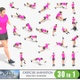 30 animations of woman exercise on white background, MP4 and GIF files, LOOPED - VideoHive Item for Sale