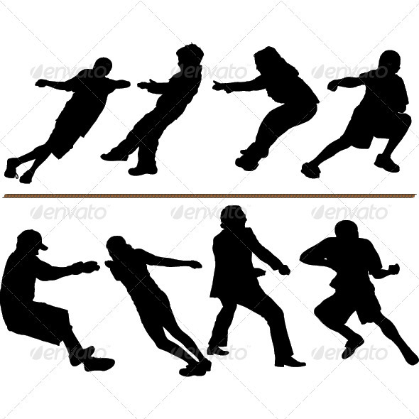 Tug of War or Rope Pulling Silhouettes - People Characters