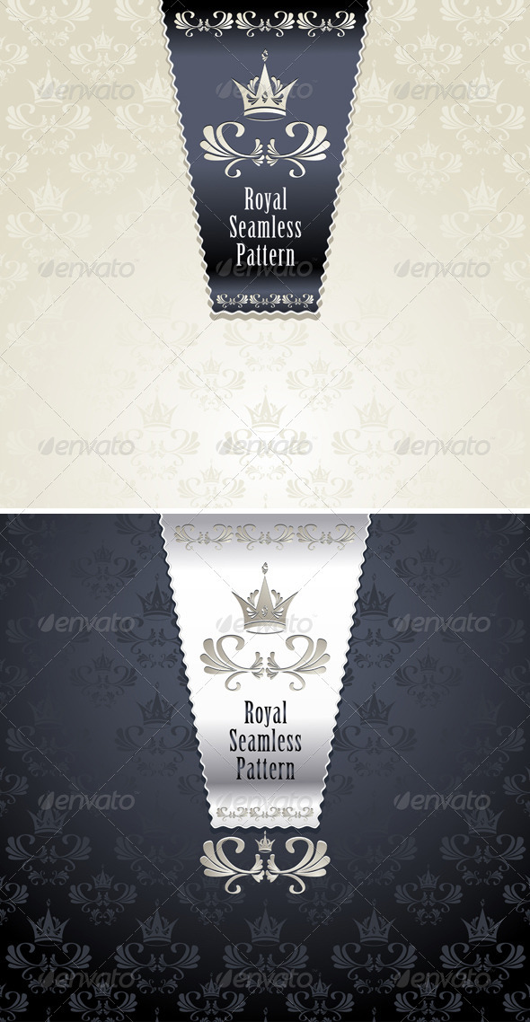 Royal Seamless Pattern with Crown - Patterns Decorative