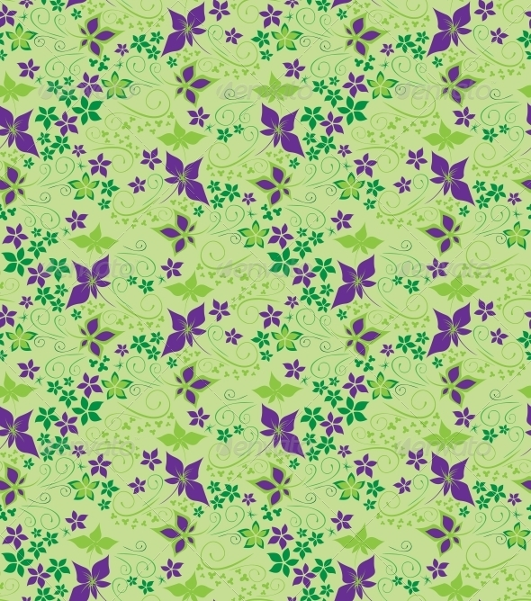 Decorative floral seamless background - Patterns Decorative