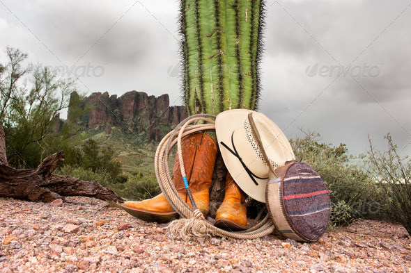 Cowboy items in desert - Stock Photo - Images