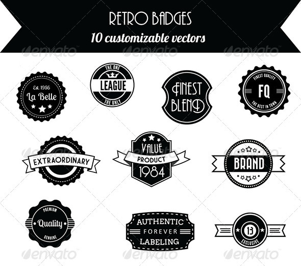 10 Retro Vintage Badges - Decorative Symbols Decorative