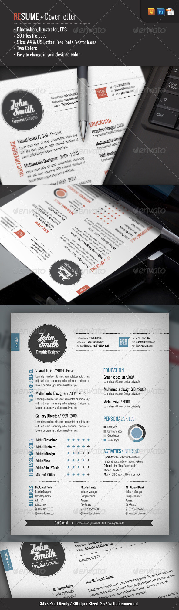 2 Piece   Resume + Cover Letter - Resumes Stationery