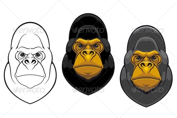 Danger Gorilla Monkey Mascot - Animals Characters