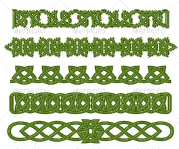 Green Celtic Ornaments - Decorative Symbols Decorative